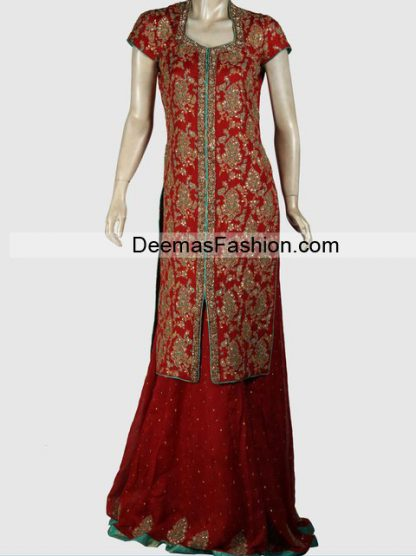 Latest Designer Wear Bridal Dress - Deep Red Sharara