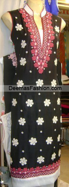 Pakistani Latest Fashion – Black white Embroidered Shirt