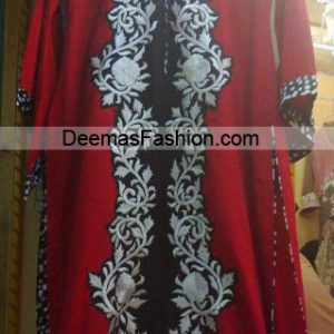 Pakistani Designer Dress - Red Black Casual Wear