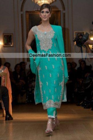 Pakistani Formal Wear Designer Dress - Sea Green Dress