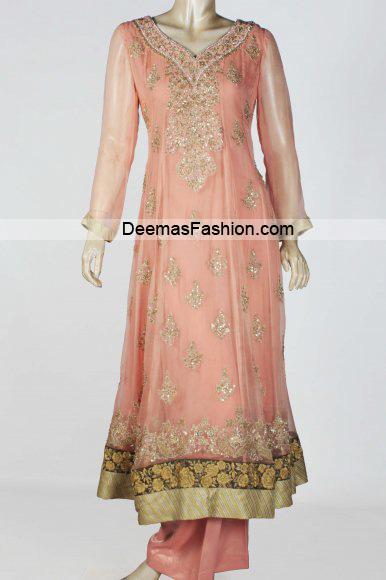 Latest Pakistani Fashion – Peach Anarkali Pishwas