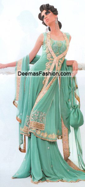 Pakistani Bridal Wear Fashion – Sea Green Sharara