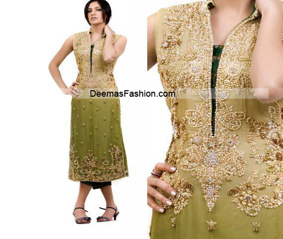 Pakistani Latest Fashion - Mehndi Green Formal Dress