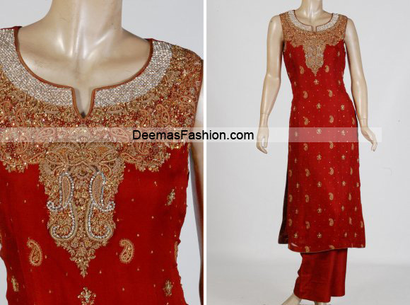 Latest Pakistani Formal Wear – Bright Red Dress