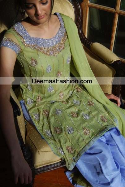 Pakistani Formal Wear Trend – Green Blue Dress