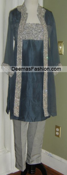 Pakistani Formal Wear Fashion - Grey Silver Dress