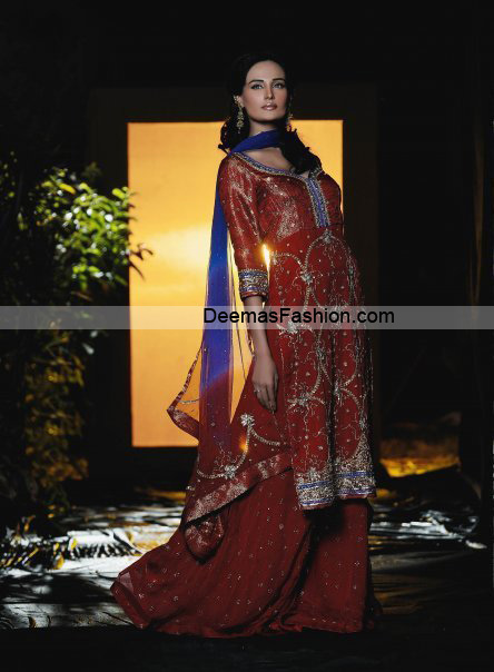 Latest Bridal Wear Dress – Deep Red Blue Sharara