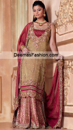 Pakistani Bridal Wear - Beige Maroon Sharara