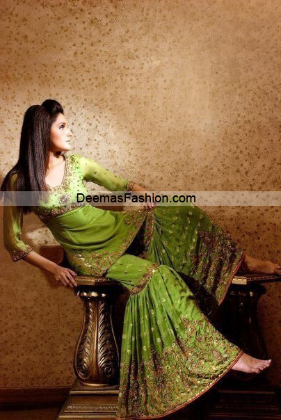 Pakistani Designer Wear Bridal Dress – Green Gharara