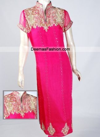 Latest Pakistani Party Wear - Shocking Pink Dress