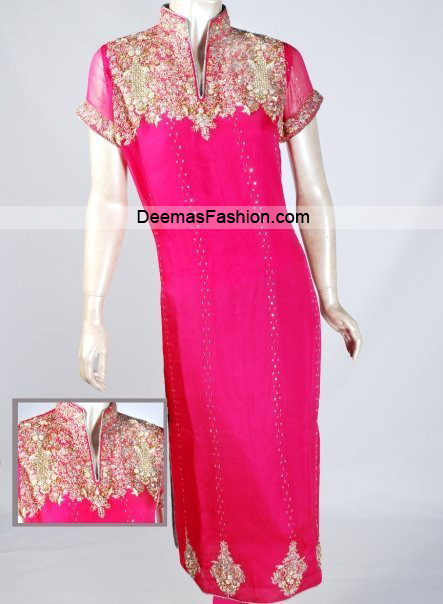 Latest Pakistani Party Wear – Shocking Pink Dress
