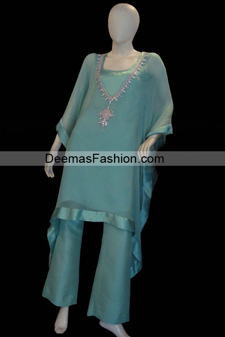 Pakistani Designer Wear - Blue Casual Dress
