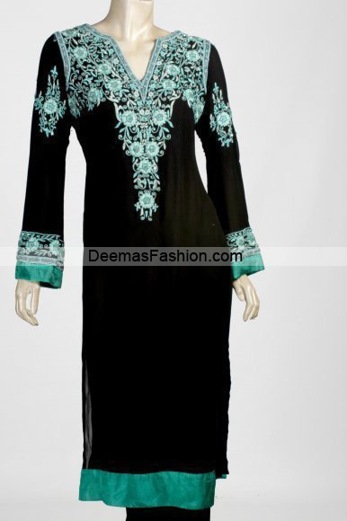 Latest Pakistani Casual Wear – Black Sea Green Dress