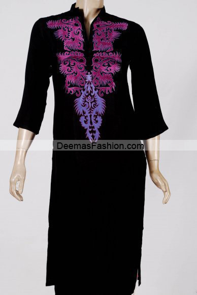 Pakistani Casual Wear – Black Purple Dress