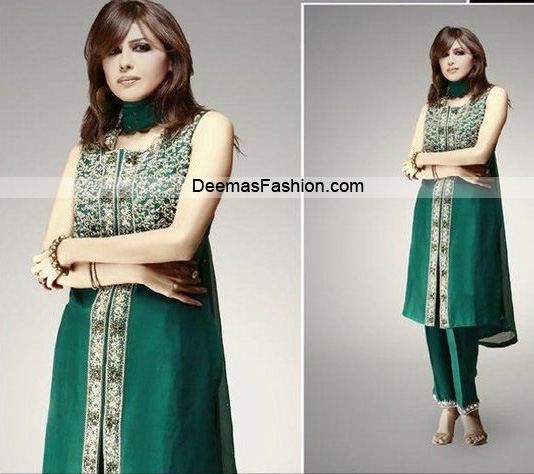 Latest Designer Bottle Green Casual Dress