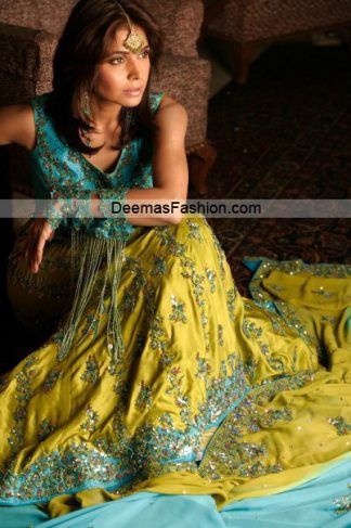 Latest Trend Bridal Dress - Green Ferozi Lehnga