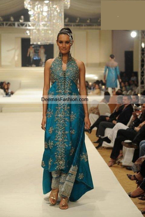 Pakistani Designer Wear Dress – Ferozi Blue Gown