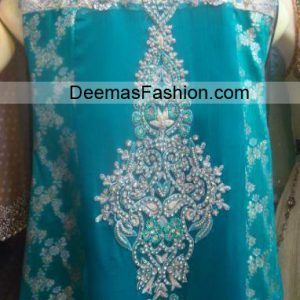 Latest Pakistani Party Wear - Ferozi Silver Dress