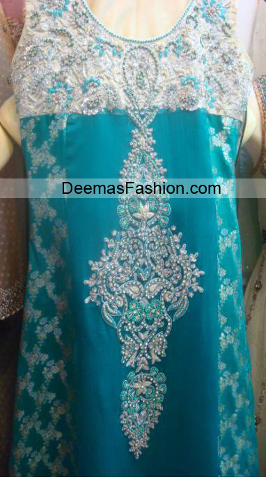 Latest Pakistani Party Wear - Ferozi Silver Dress