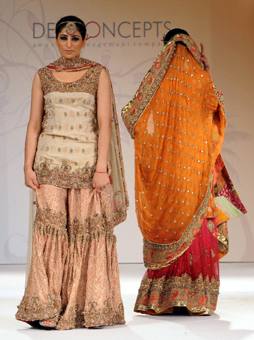 Pakistani Traditonal Bridal Wear - Peach Gharara