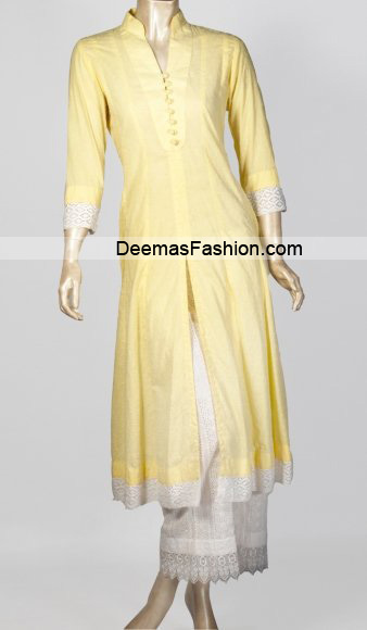 Latest Casual Trend – Yellow White Dress