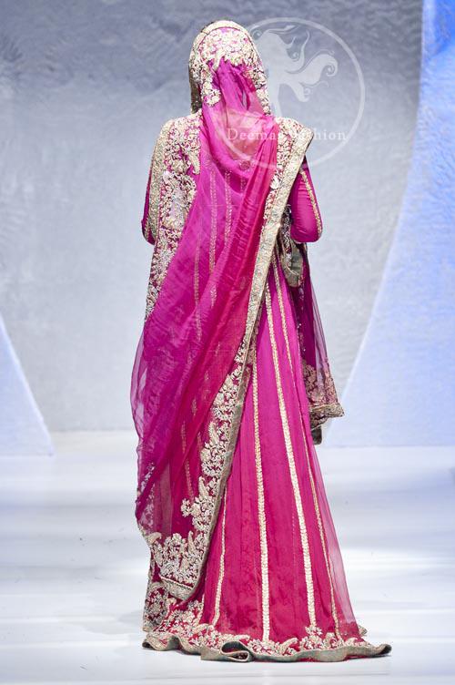 Back Picture of Shocking Pink Bridal Wear Anarkali Pishwas Dress
