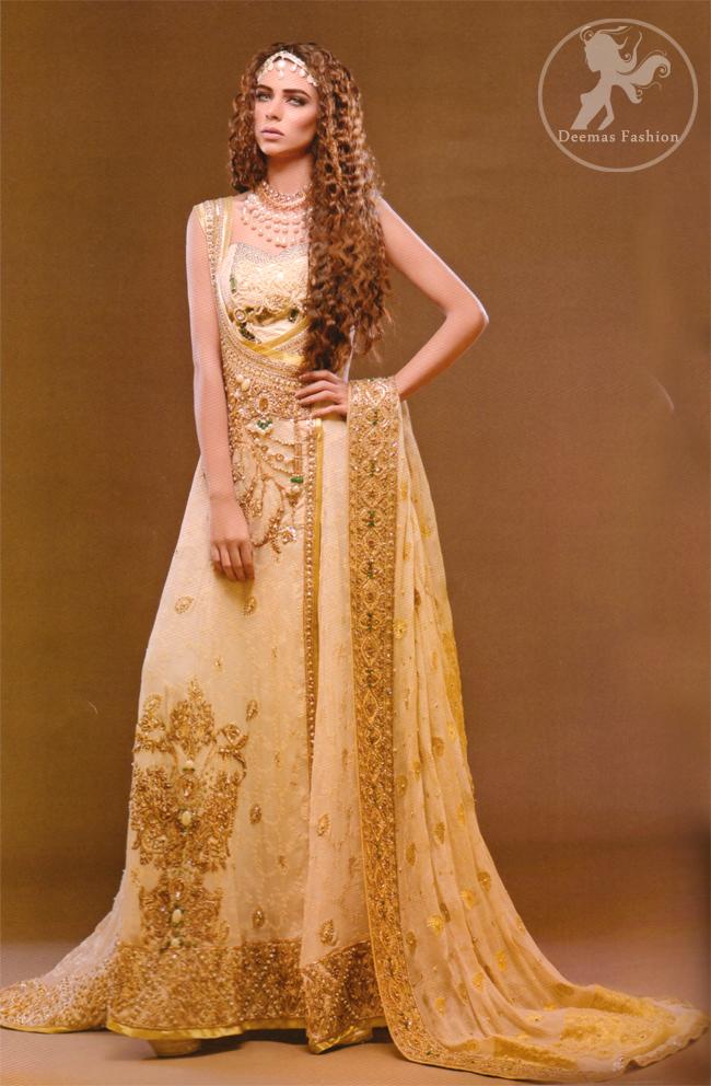 Beige Angrakha Pishwas with Embellished Dupatta