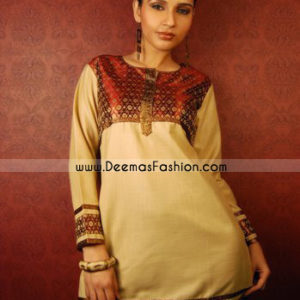 Latest Indian Fashion Beige Chiffon Kurti Shirt