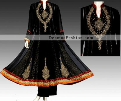Black A-Line Anarkali Frock Trouser