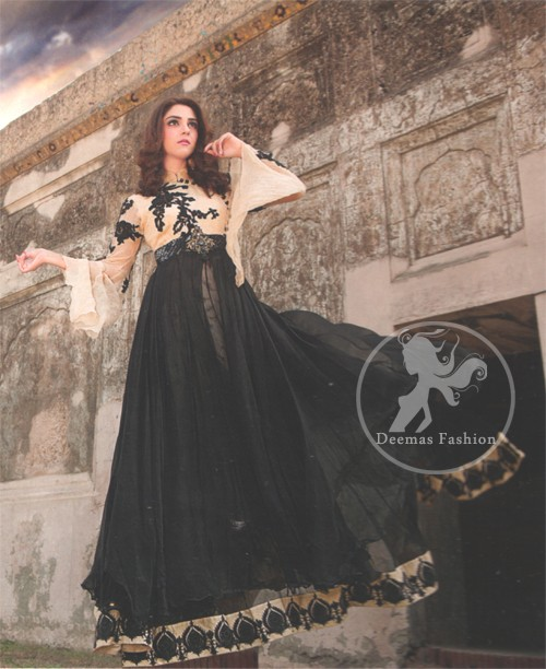 Latest Pakistani Semi Formal Black and Fawn Maxi