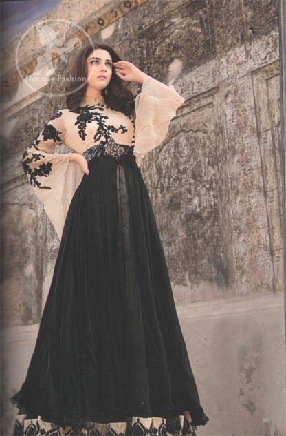 Latest Pakistani Semi Formal Fawn & Black Maxi