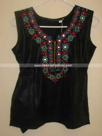 Latest Design Black Ladies Embroidered Top