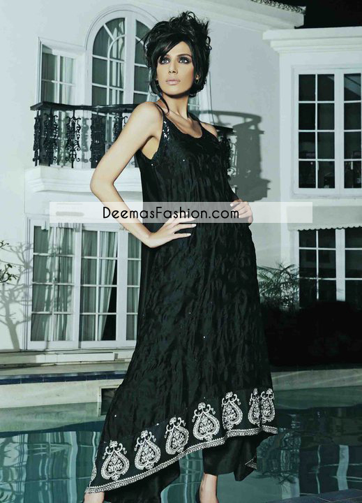 Black Aline Casual Wear Pishwas Dress
