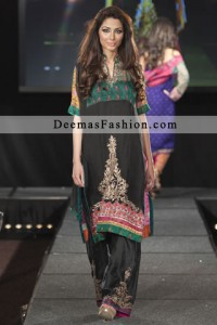 Black Casual Wear Embroidered Dress