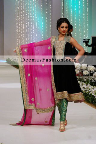 Black Shirt Shocking Pink Dupatta Green Trouser - Formal Wear Dress