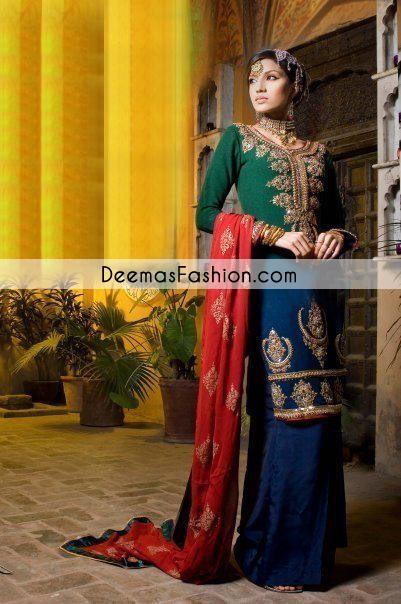 Blue-bottle-green-bridal-wear-Sharara1