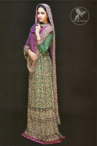 Latest Pakistani Bottle Green Bridal Maxi with Purple Dupatta