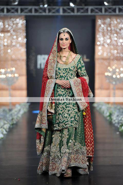 Bottle Green Deep Red Heavy Lehnga