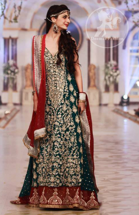 Bottle Green Deep Red Heavy Bridal Pishwas