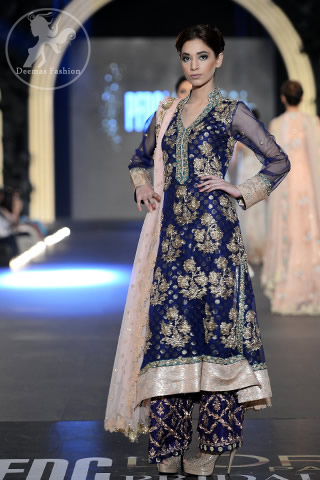 Bridal Collection Navy Blue Fully Embellished A-Line Shirt & Embroidered Trouser
