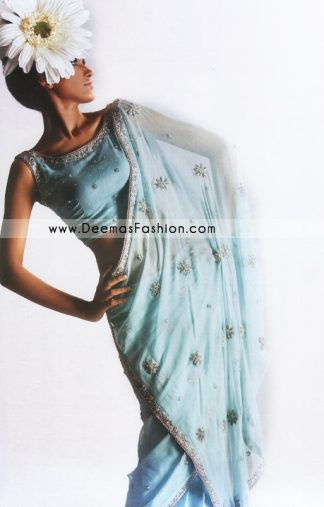 Bridal Wear Designers Dress – Sky Blue Embroidered Saree