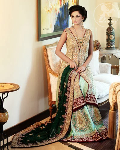 Bridal Dress Light Gold Fully Embellished Gown with Pistachio Green Lehenga & Bottle Green Duppata