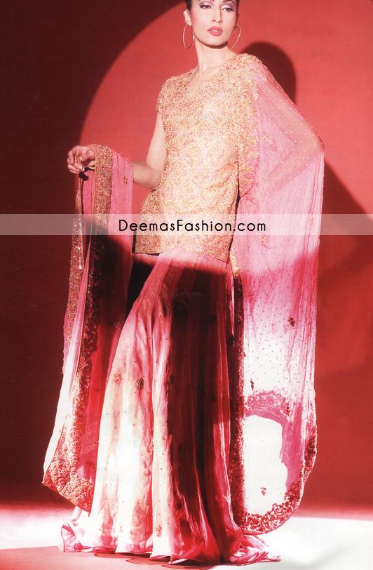 Buy Designer Wear - Pink Golden Bridal Dress