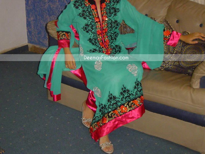 Buy Pakistani Clothes Sea Green Casual Wear Designer Dress