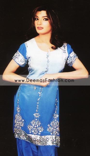 Buy Pakistani Fashion Clothes – Blue Shalwar Kameez Dress