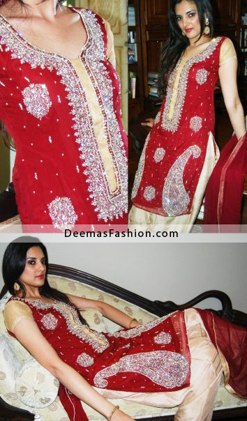 Buy Pakistani Fashion Dress – Red Beige Dress