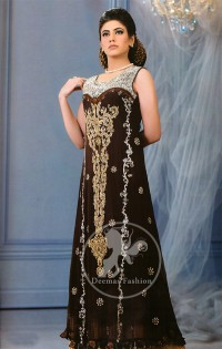 Dark Brown Back Trail Maxi with Embellished Bodice