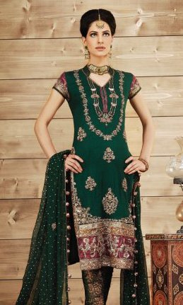 Latest Ladies Fashion Clothes - Dark Green Bridal Churidar Dress