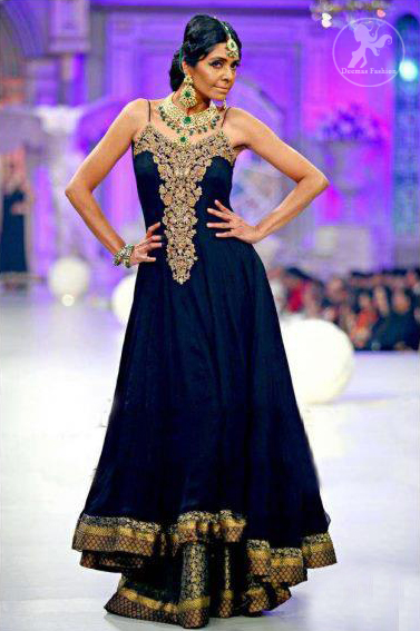 Dark Blue Aline Frock with Embellished Neckline and Sharara