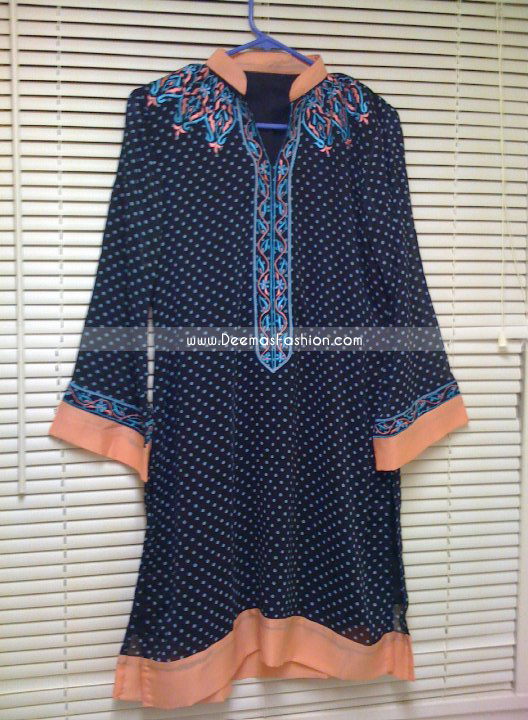 Pakistani Stylish Royal Blue A Line Kurta Shirt